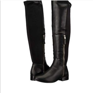NWOB ALDO Solonna Black Leather Over The Knee Boot